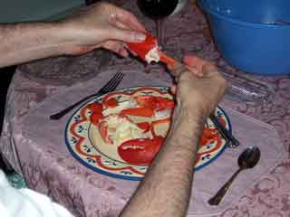 Lobster claw meat removed