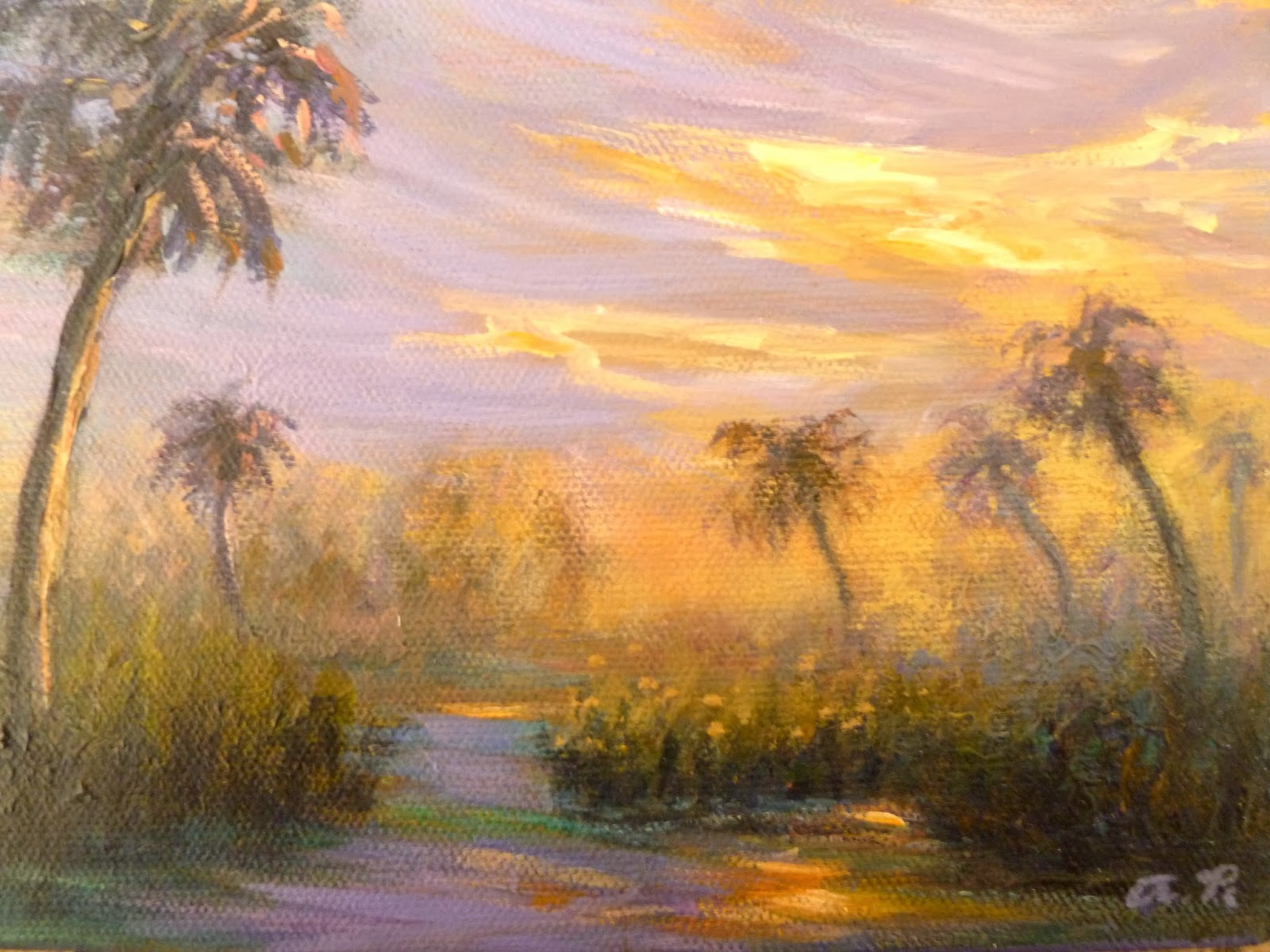 Marsh at sunset painting