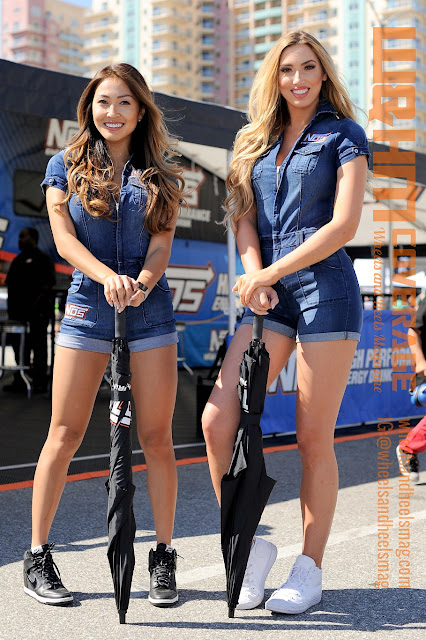 NOS Girls Liz Kara and Caroline Wade in NOS denim uniform