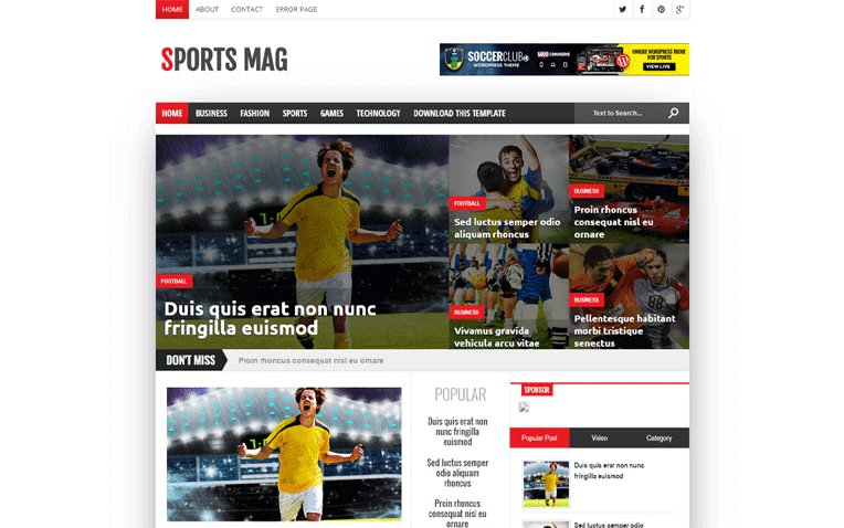 Sports Mag Free Blogger Template