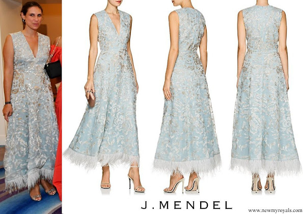 Tatiana Santo Domingo wore J. Mendel Aqua Feather trimmed Beaded Silk Cocktail Dress