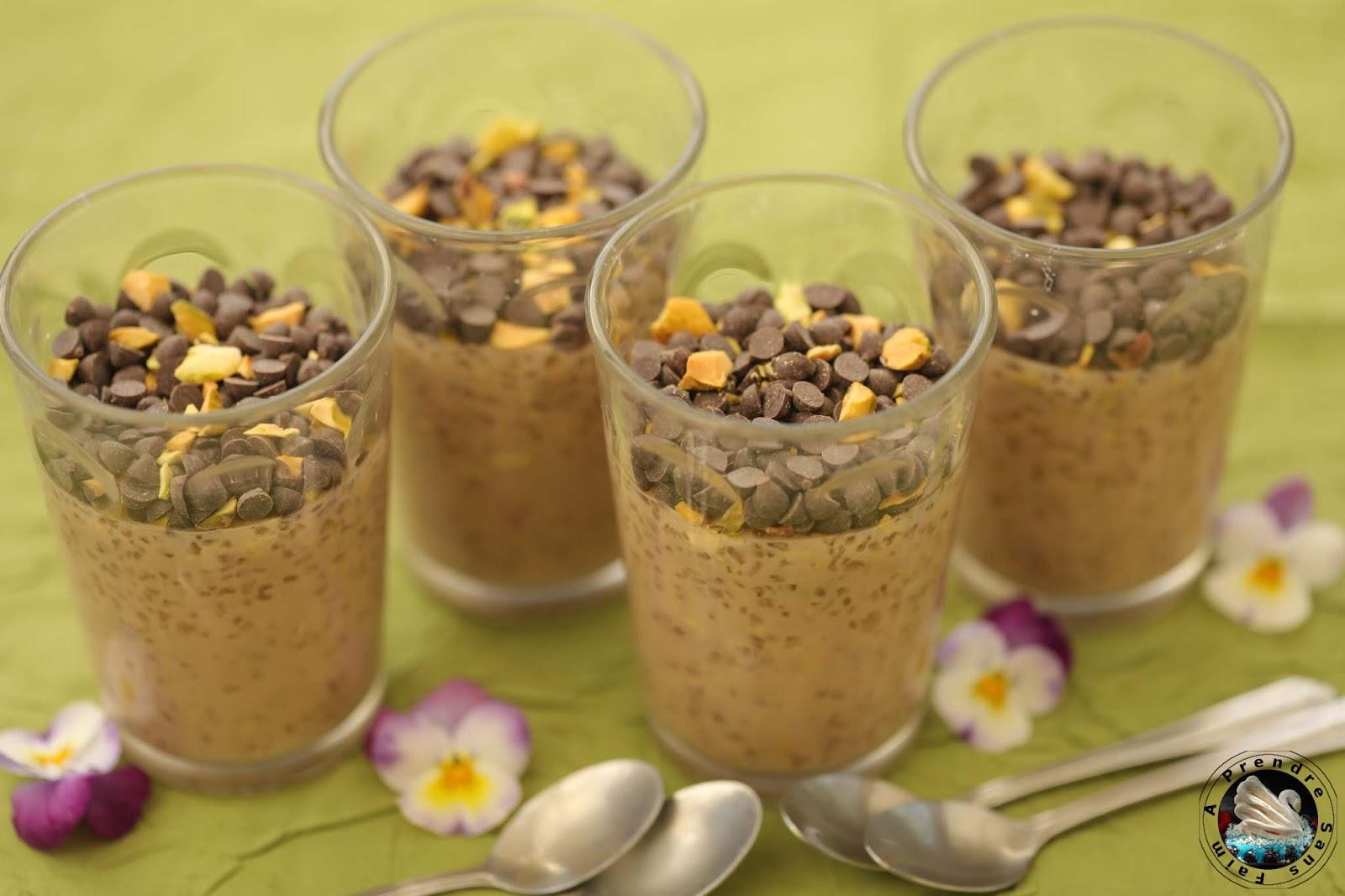 Crème dessert tapioca noisette chocolat pistaches