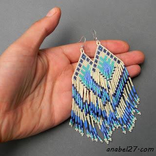 Ethnic seed bead earrings - large beaded earrings