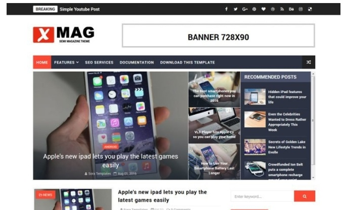 X mag free blog template