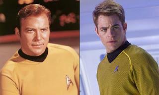 Captain Kirk William Shatner and  Chris Pine