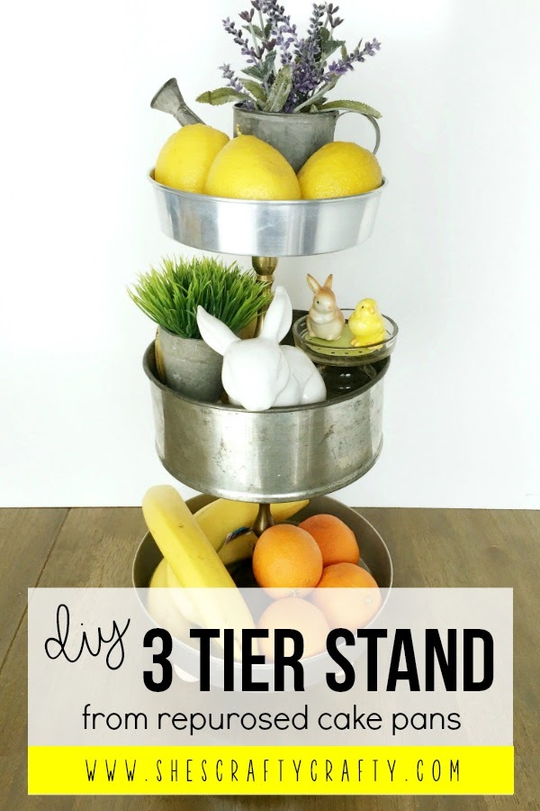 Make a 3 tiered tray stand from repurposed cake pans from the thrift store | She's Crafty www.shescraftycrafty.com