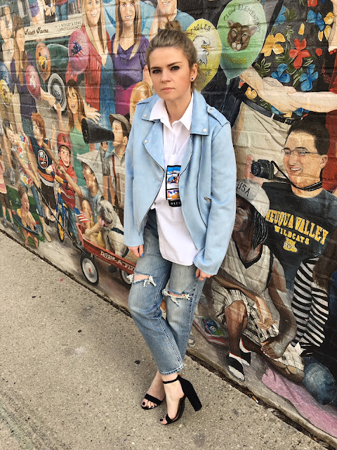 Baby blue moto jacket by Member's Only