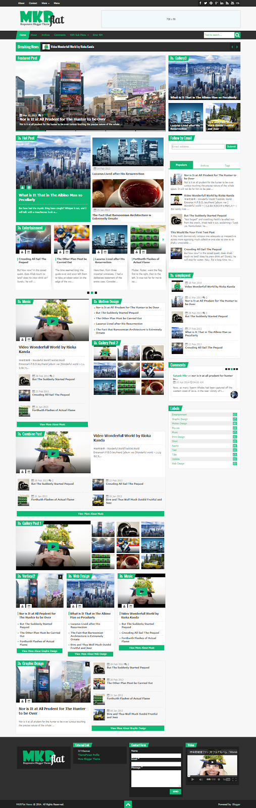 MKR Flat Responsive Blogger Template