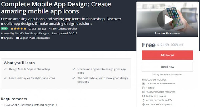 [100% Off] Complete Mobile App Design: Create amazing mobile app icons| Worth 124,99$