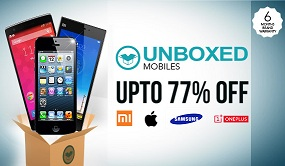 Upto 77% Off on Unboxed Best Brands Mobile Phones (Samsung, Apple, Mi, One Plus One and many others) @ Shopclues