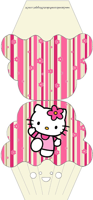 Hello Kitty with Flowers, Free Printable Cupcake  Invitation.