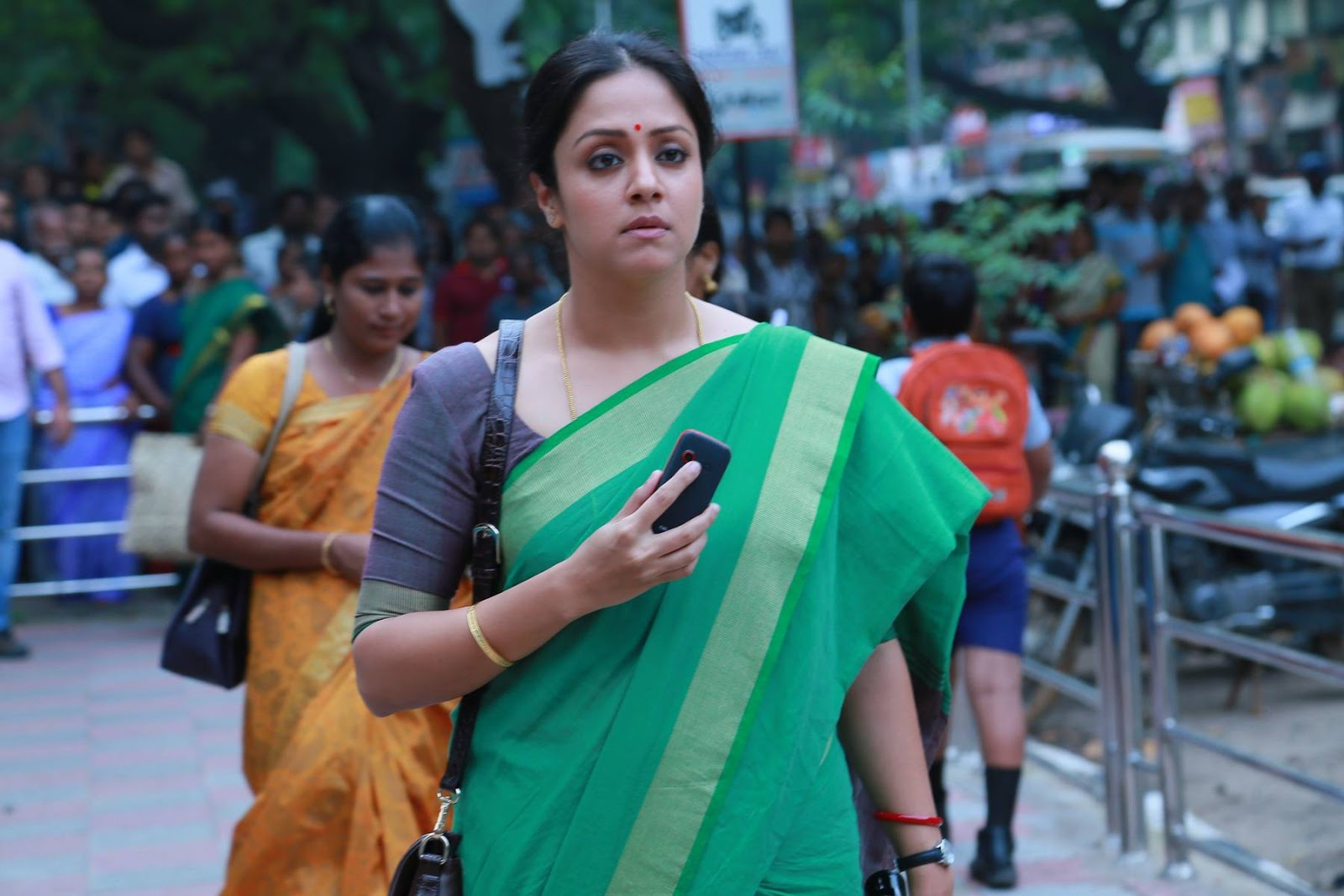 Kollywood Actress Jyothika Photos In Green Saree