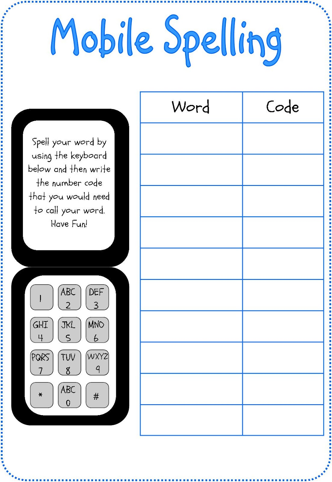 Miss G S Classroom Bits Mobile Phone Spelling Cards