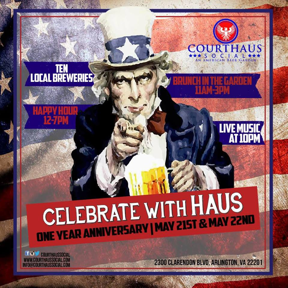 Happy Hour Places In Arlington Va: Clarendon Nights: Courthaus Social Anniversary