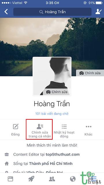Chỉnh sửa trang cá nhân Facebook