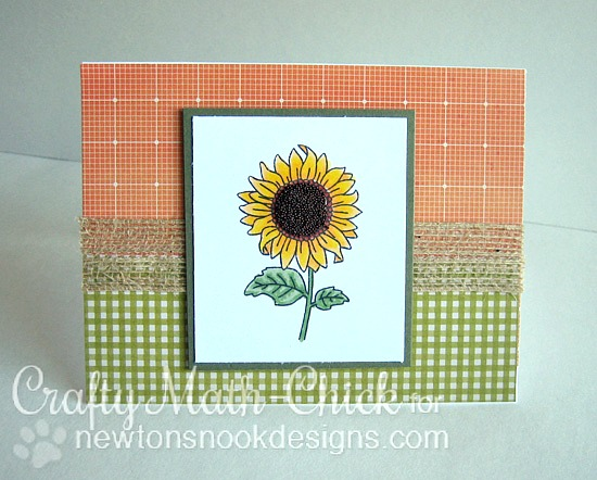 Sunflower Card by Crafty Math-Chick | Flower Garden Stamp set by Newton's Nook Designs #newtonsnook