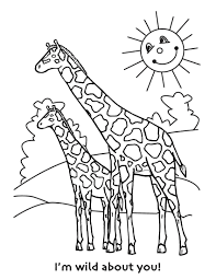 Cute Mom And Baby Giraffe Coloring Sheet At Forest