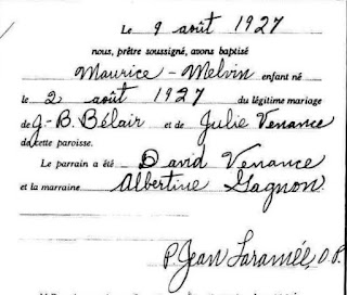 Maurice Belair baptism record cropped version
