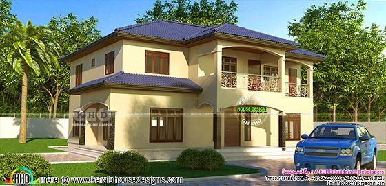 5 BHK Kerala sloping roof home design