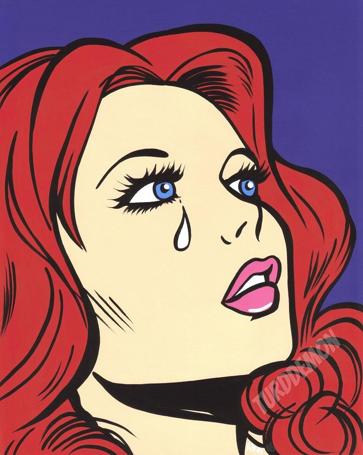 red curls pop art sad girl crying ginger woman original painting