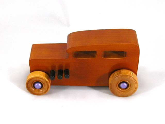 Left Side - Wooden Toy Car - Hot Rod Freaky Ford - 32 Sedan - Pine - Amber Shellac - Metallic Purple Hubs