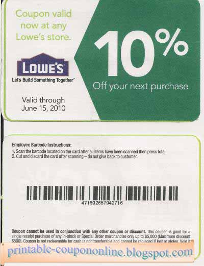 Lowes discount coupon january 2018
