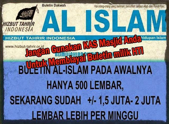 Jangan Gunakan Kas Masjid anda Untuk Bayar Buletin HTI ini