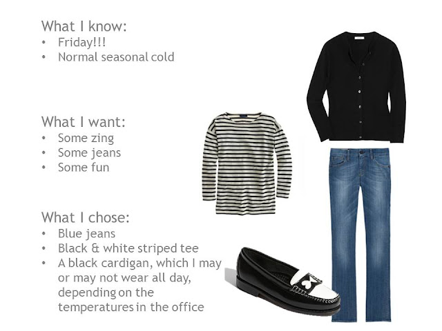 black and white striped tee,black cardigan, blue jeans, black and white loafers