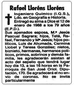 Esquela de Rafael Lloréns