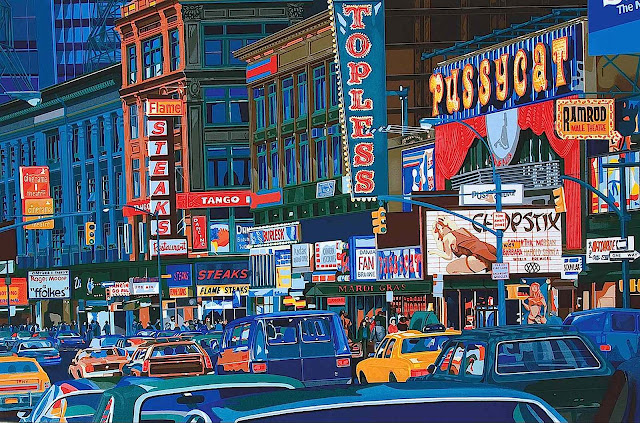 An M. Osterweil painting of downtown traffic, 1979
