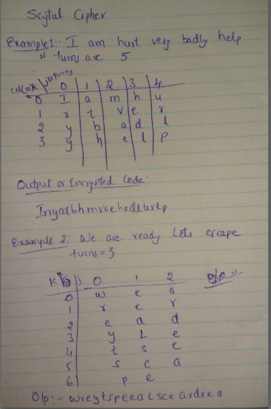 Scytale Cipher using C