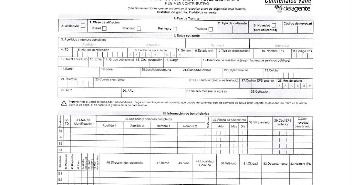 formularios afiliacion saludcoop