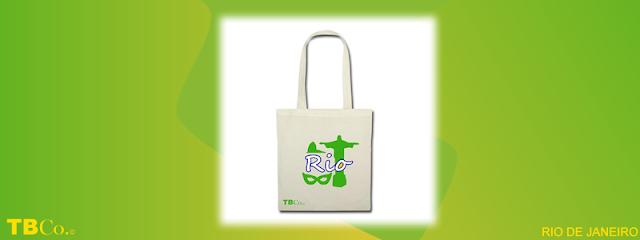 Bolsa de tela con diseño inspirada en el carnaval de Río de Janeiro, el Cristo Corcovado y la naturaleza tropical