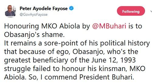 Fayose slams Obasanjo, hails president Buhari