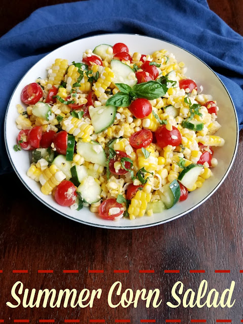 Fresh summer vegetables like corn, cucumbers and tomatoes come together to make the perfect summer side dish.