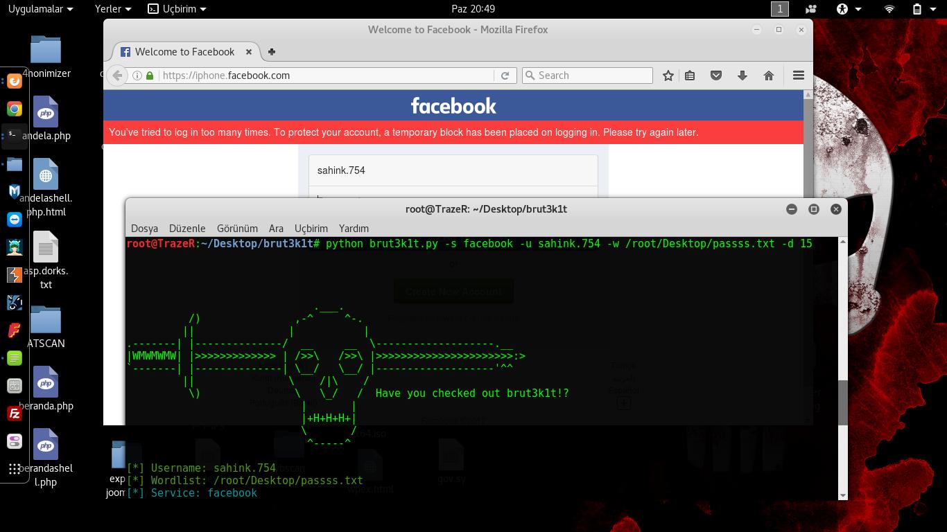 Kali Linux Facebook İnstagram Twitter Brute Force