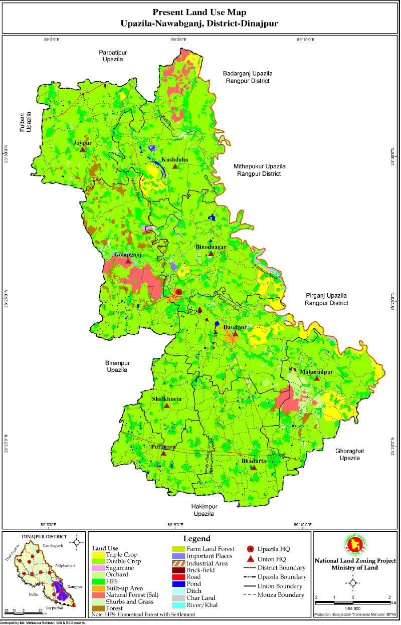 Nawabganj Upazila Mouza Map Dinajpur District Bangladesh