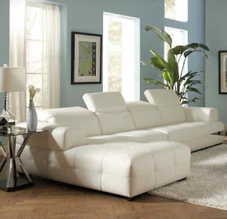 Coaster Home Furnishings White Leather sofa - www.leovandesign.com