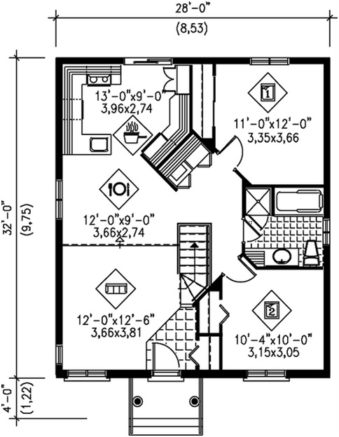 TWO BEDROOMS 85m2 HOUSE PLAN - 3D HOME PLANS INCLUDED : HOME PLANS
