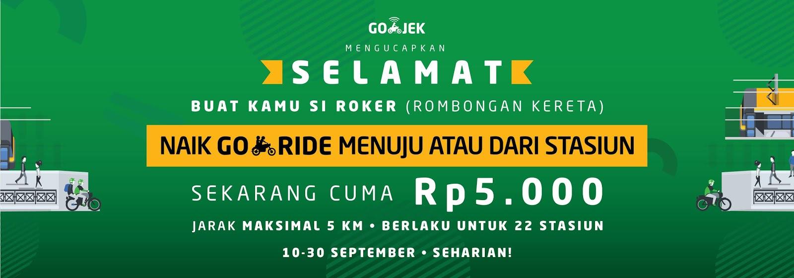 GOJEK - Promo Flat Dare Cuma 5 Ribu Ke 22 Stasuin Jabodetabek (s.d 30 Sept 2018)