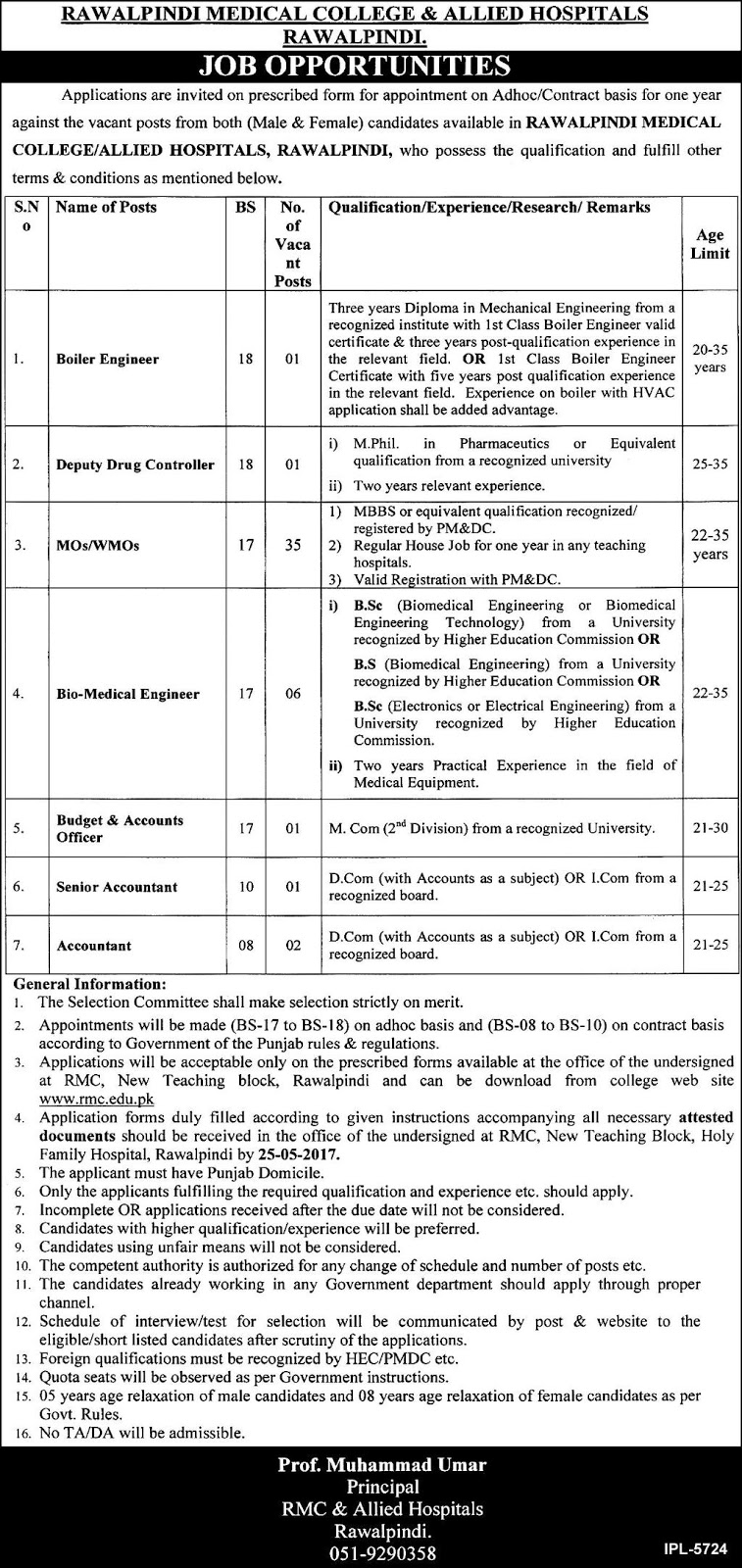 47 rawalpindi medical college and allied hospital  jobs 10 may 2017