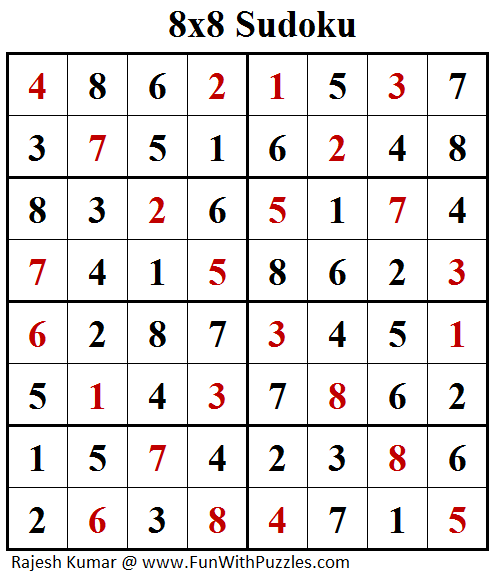 8x8 Classic Sudoku (Fun With Sudoku #166) Solution