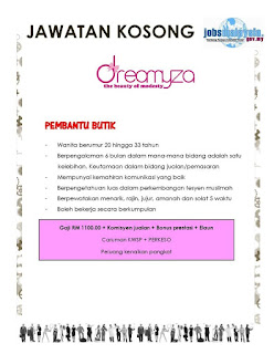 Dreamyza Boutique Kerja Kosong