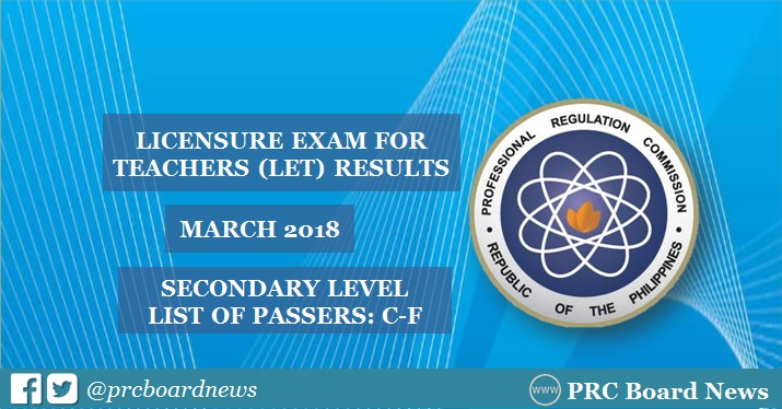 LET Result March 2018: C-F Passers Secondary Level