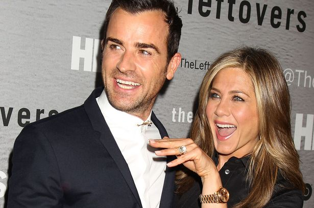 Jennifer Aniston wearing a gold Rolex Day-Date at Husband Justin Theroux's HBO Premier