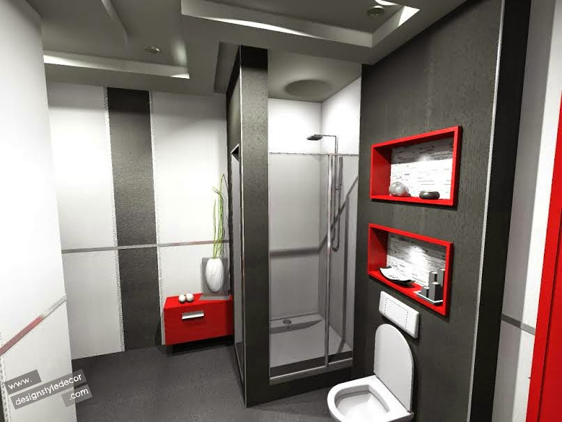 Design style decor design red accent bathroom for Red accent bathroom