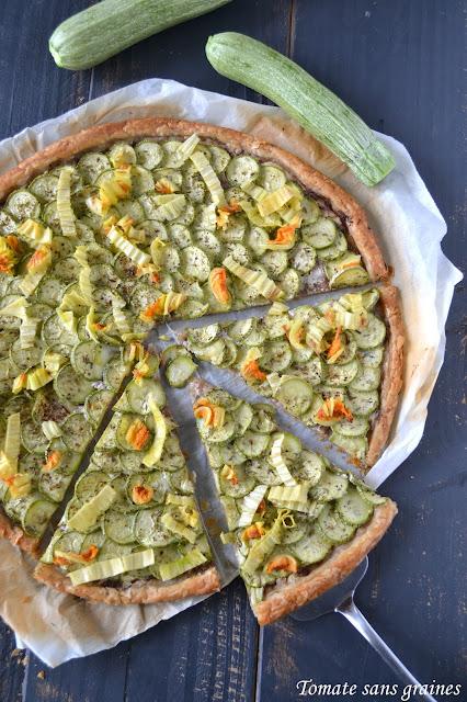 Tarte à la courgette et à la pâte d'olive