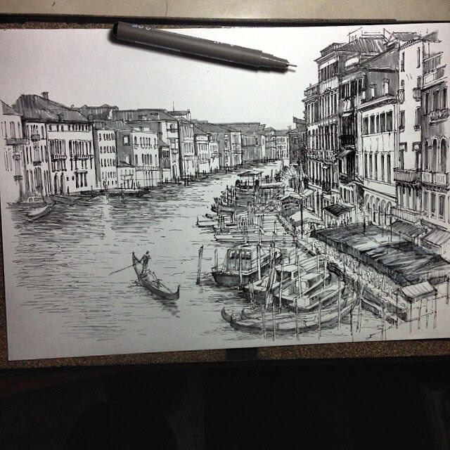 02-Venice-HAO-Sketches-Fineliners-Urban-Architectural-www-designstack-co