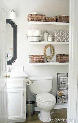 bathroom shelving, baskets