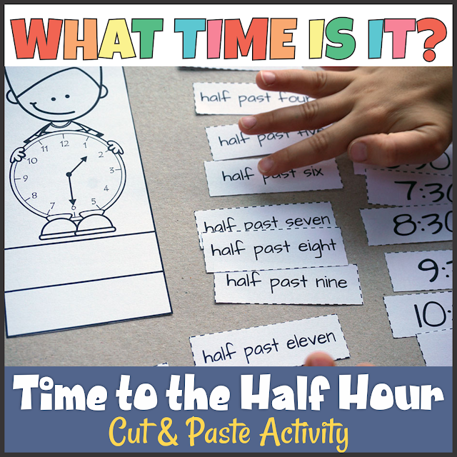 https://www.teacherspayteachers.com/Product/Telling-Time-to-the-Half-Hour-Cut-and-Paste-Activity-3048858